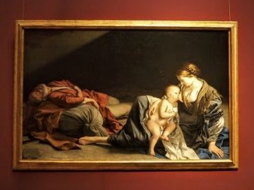 Rest on the run to Egypt, by Orazio Lomi Gentileschi