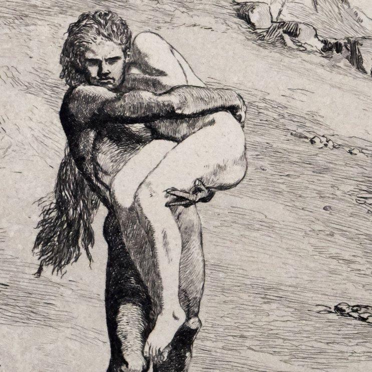 Adam; Eva und die Zukunft, #5; Etching by Max Klinger (1880)