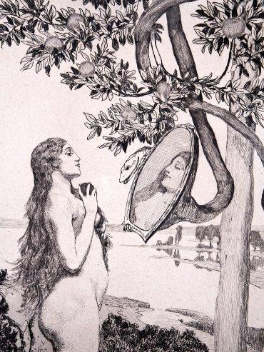 Die Schlange; Eva und die Zukunft, # 3; Etching by Max Klinger (1880)