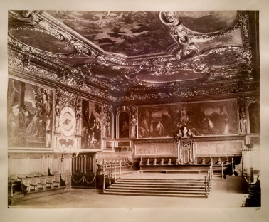 Three ceiling paintings in the Doge's Palace are examples of Naya's black and white photographs of paintings.