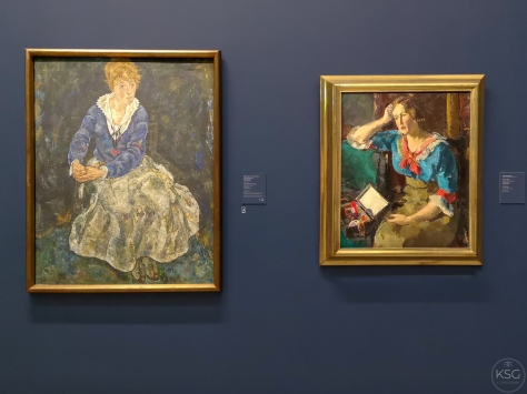 The current version of Schiele´s painting side by side with Faistauer´s