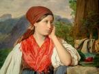 Detail from The Strawberry Seller of Hallstatt, Franz Eybl, 1844