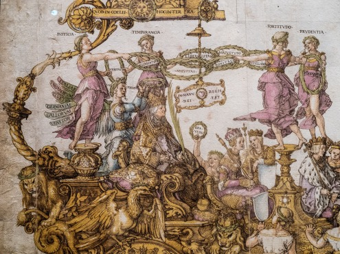 The Large Triumphal Chariot of Emperor Maximilian I, 1518, pen and watercolour