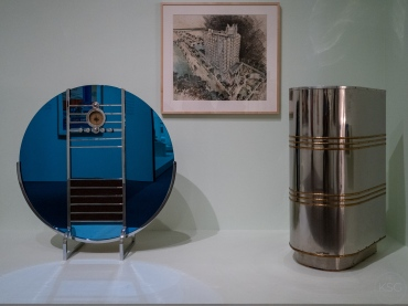 """L: """"Nocturne"""" model radio, 1935; R: a ticket taker booth, 1946"""